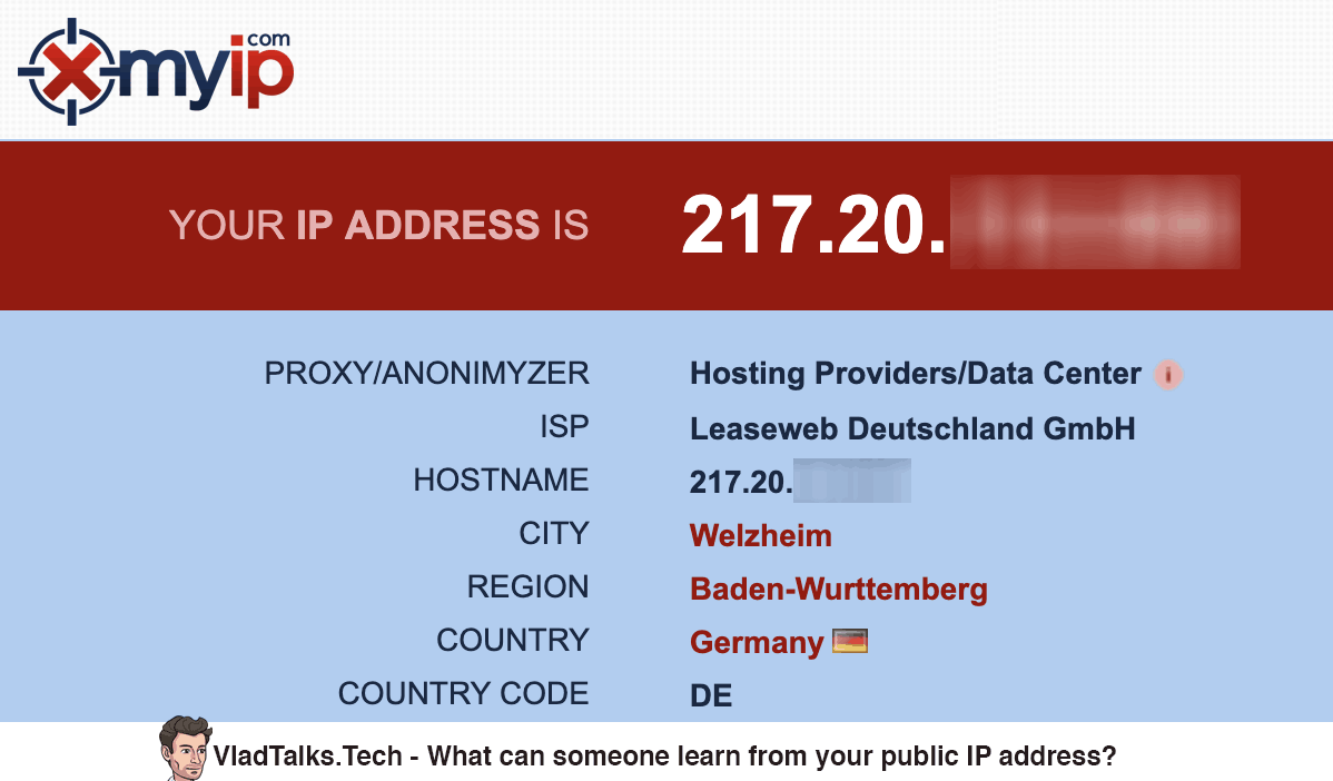 What can someone learn from your public IP address?