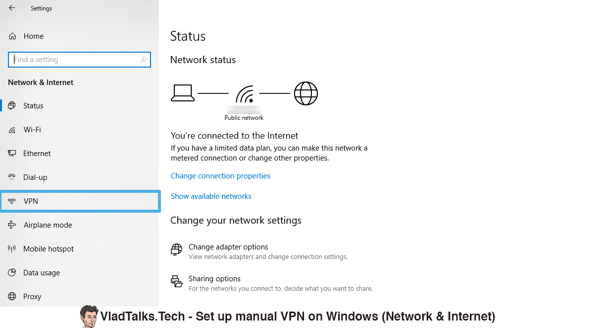 Screenshot showing how to add a VPN connection on Windows 10