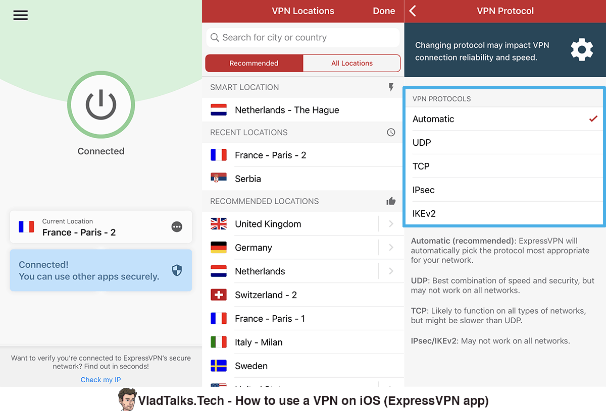 Screenshots of the ExpressVPN iOS app - Connect, VPN locations, VPN protocols - Best iOS VPN app