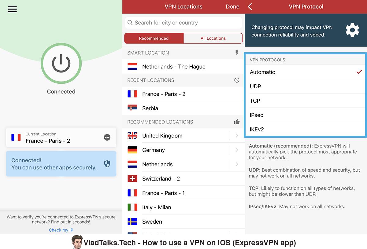 Screenshots of the ExpressVPN iOS app - Connect, VPN locations, VPN protocols - Best iOS VPN app