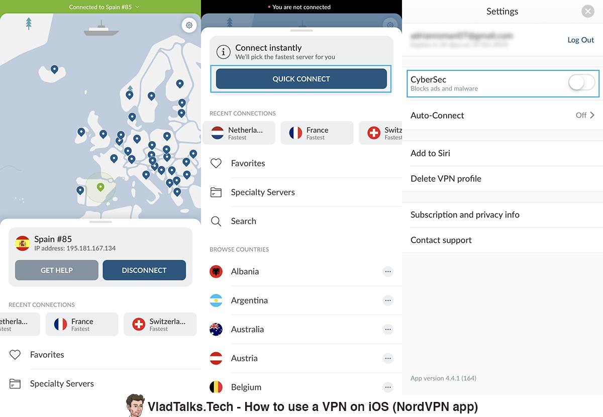 Screenshots of the NordVPN app - Quick Connect, CyberSec, location selection - Best iOS VPN app