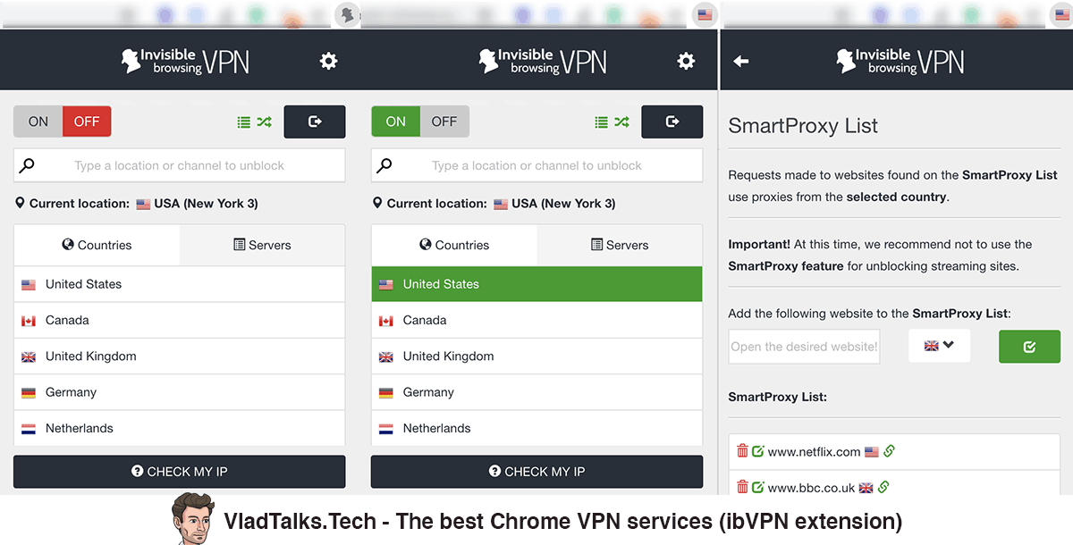 Screenshots of the ibVPN Chrome extension - Best Chrome VPN