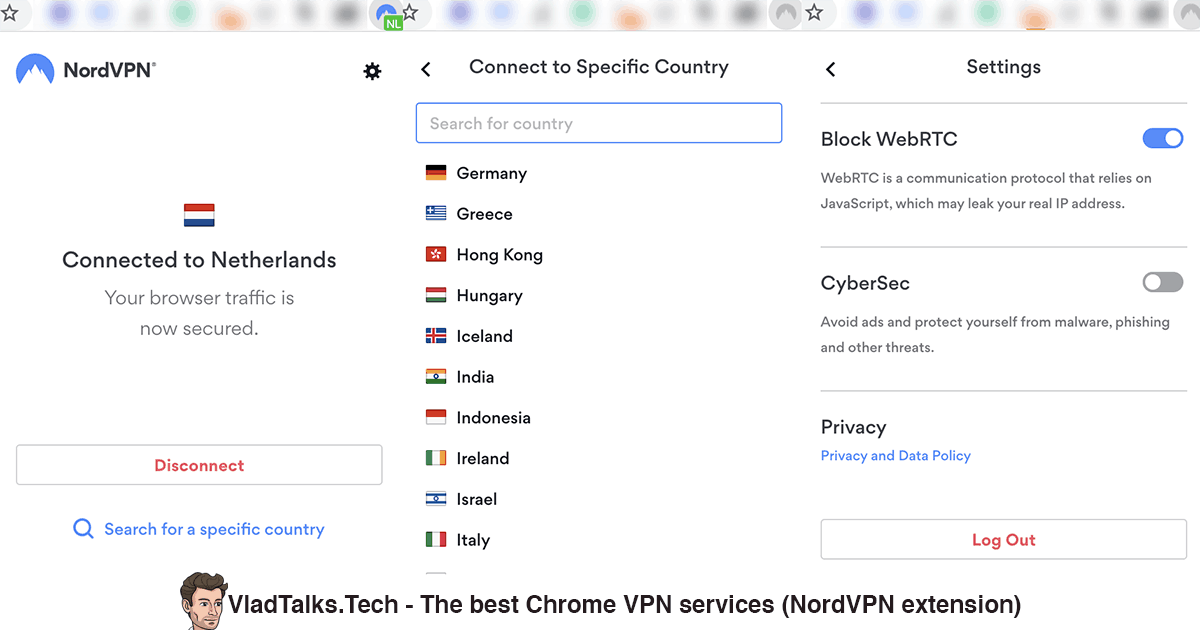 Screenshots of the NordVPN Chrome extension - Best Chrome VPN