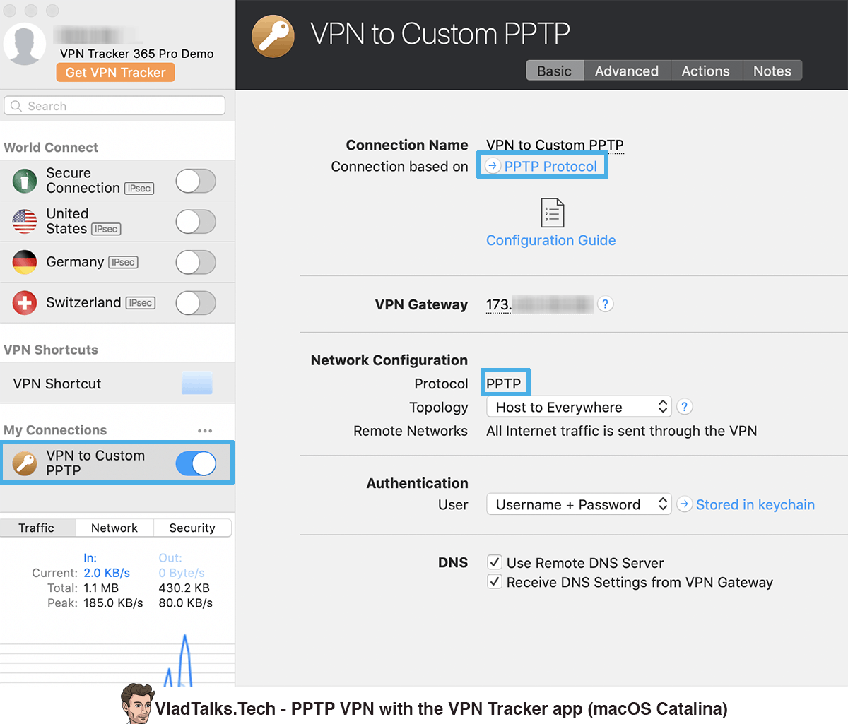 How to set up a PPTP VPN on macOS Catalina - VPN Tracker client application