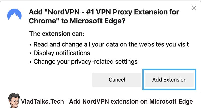 Install Chrome VPN extension on Microsoft Edge - Add NordVPN