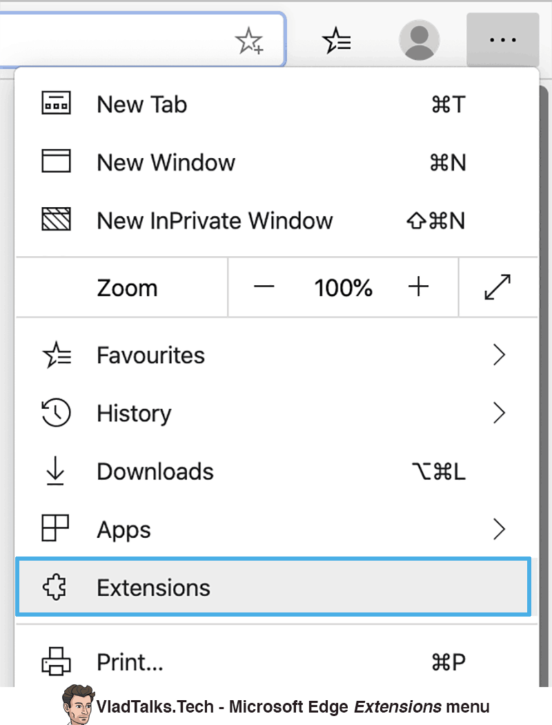 Install Chrome VPN extension on Microsoft Edge - Extensions menu