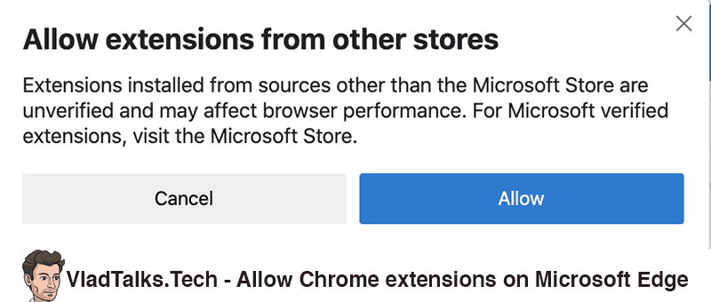 Install Chrome VPN extension on Microsoft Edge - Warning