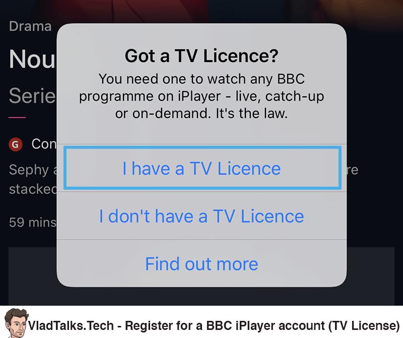 Register a BBC iPlayer account (TV License)