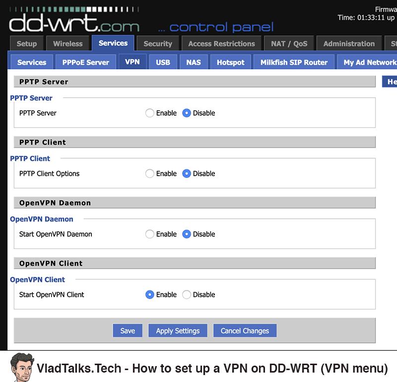 How to set up a VPN on a DD-WRT router - VPN menu