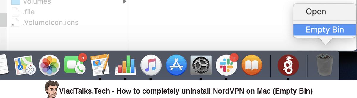 How to completely uninstall NordVPN on Mac - Empty Bin