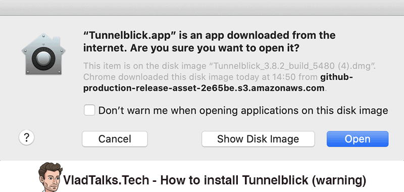 How to install Tunnelblick - Warning