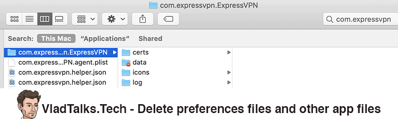 Delete preferences files and other app files