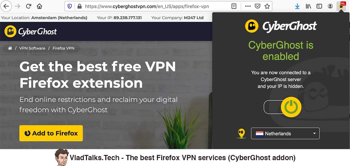 The best Firefox VPN services - CyberGhost addon