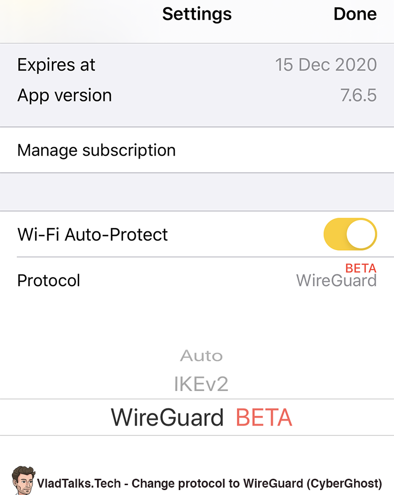 Change protocol to WireGuard (CyberGhost)