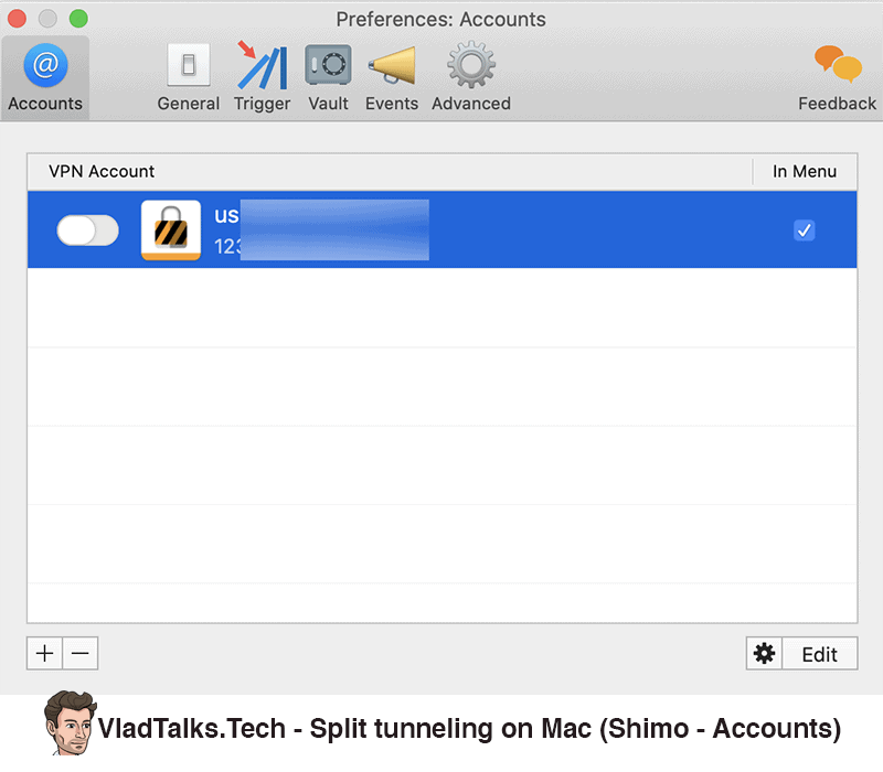 Shimo accounts - How to set up split tunneling on Mac