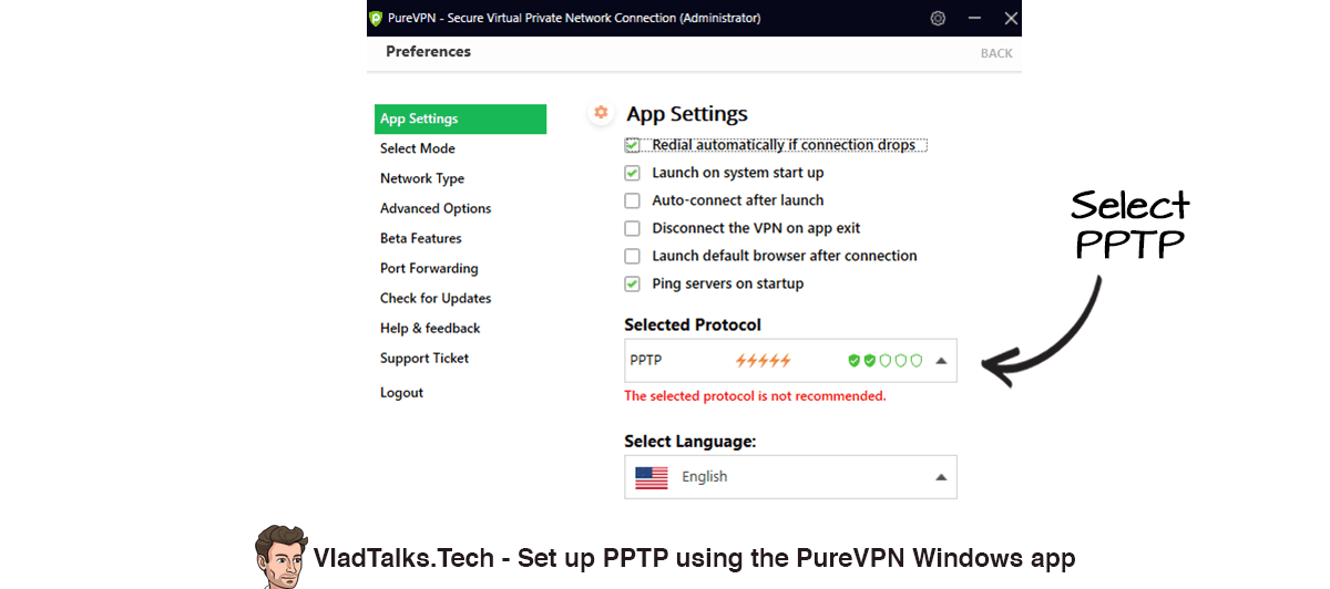 How to set up PPTP VPN on Windows 10 using the PureVPN app.