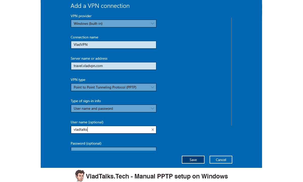 Manual PPTP setup on Windows