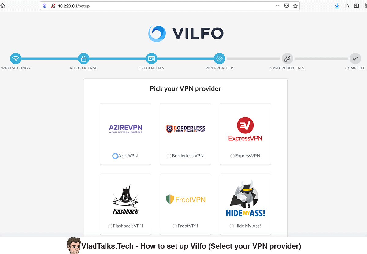 Vilfo setup - Select your VPN provider