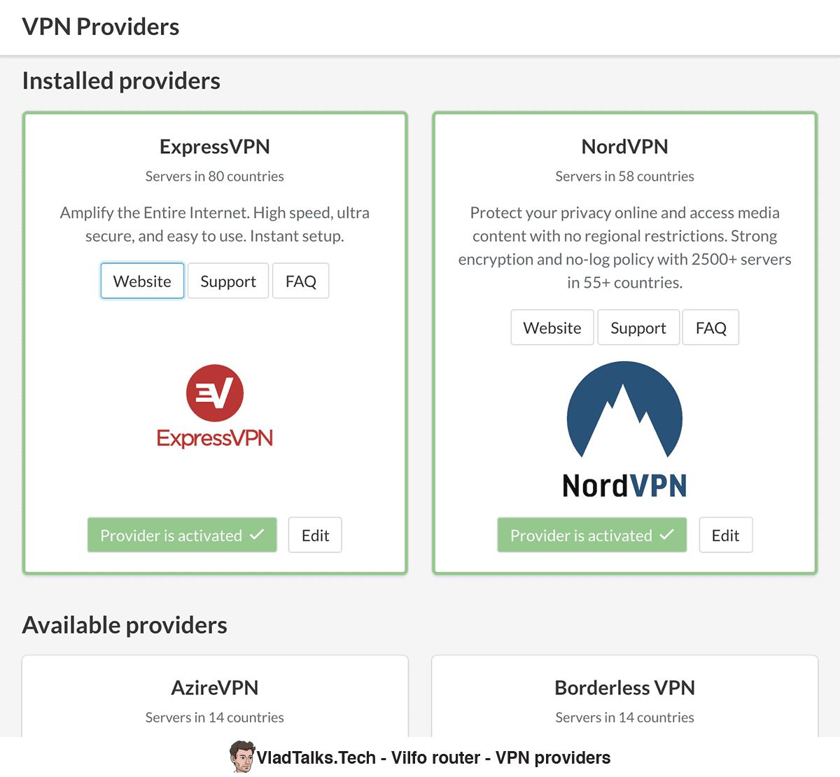 Vilfo router - Installed VPN providers