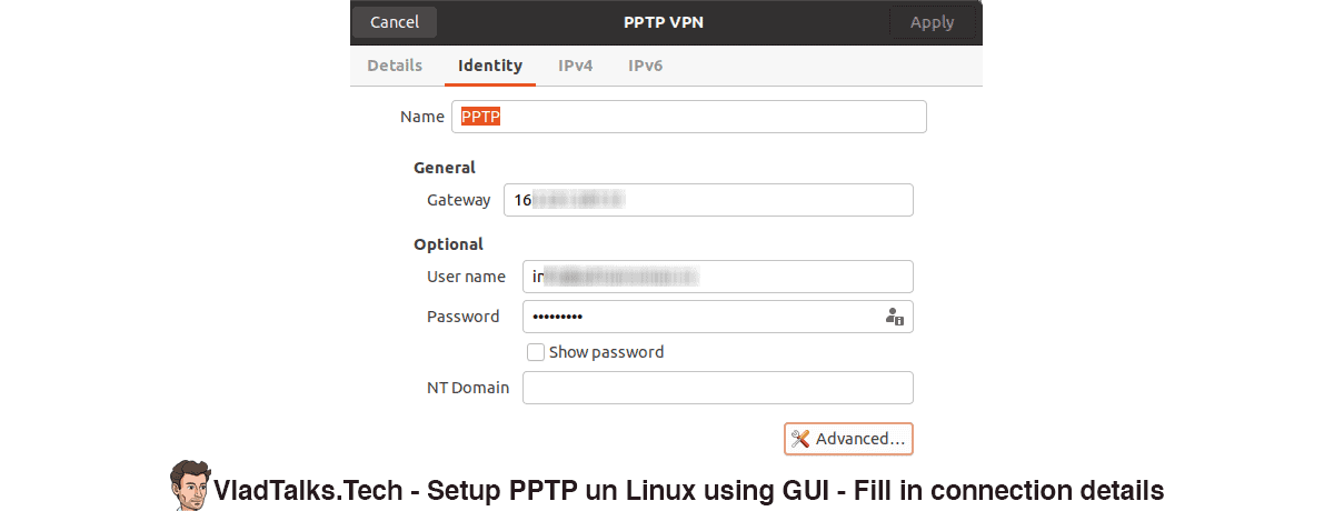Setup PPTP on Linux (GUI) - Fill in connection details