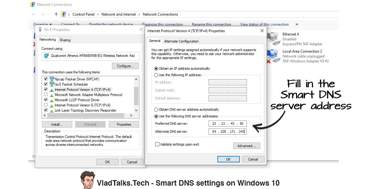 Smart DNS settings on Windows 10