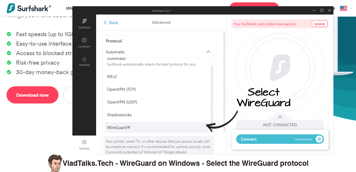 WireGuard on Windows - Surfshark app