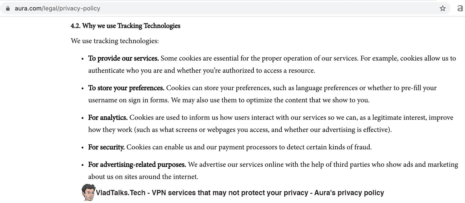 VPN Privacy - Aura's privacy policy