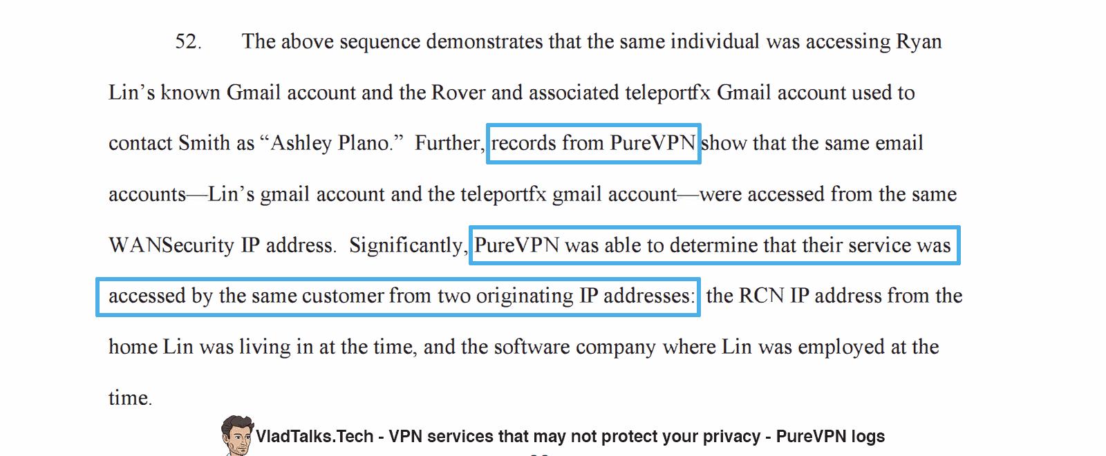 PureVPN logs FBI